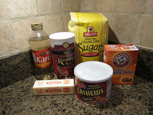 Cashew Brittle Ingredients