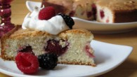 Delicious almond cake with fresh blackberries and raspberries.