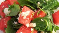 Watermelon, Arugula, and Feta combine to make a delicious, crisp and fresh summer salad.