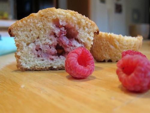 half raspberry strawberry muffins