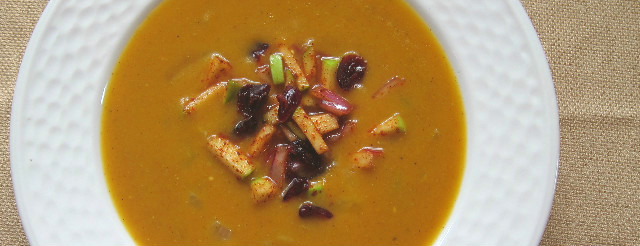 Pumpkin Soup with Chili Cran-Apple Relish
