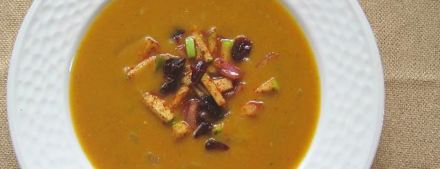Pumpkin Soup with Chili Cran-Apple Relish