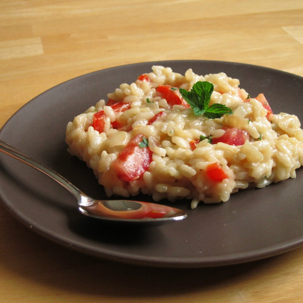 Risotto with Red Bell Pepper, Tomato, Mint and Feta