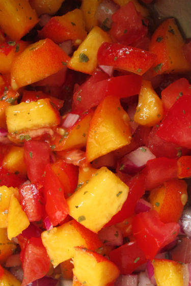 ginger chicken and peach salsa