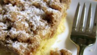 A revised version of my Mom's crumb cake, made special for us after bringing home baby.