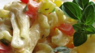 A savory pasta salad- perfect for your next BBQ or picnic!